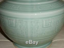 Grand Vase En Porcelaine Émaillée Celadon Chinois Antique