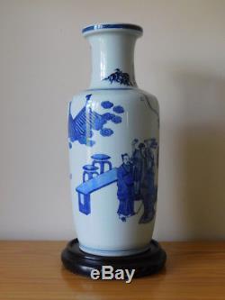 Grand Vase En Rouleau Ancien En Porcelaine De Chine, Bleu Et Blanc, Marqué Au Kangxi