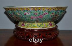 Grand Vieux Chinois Famille Rose Porcelaine Pied Bowl Pheonix Wood Stand
