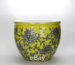 Grande 19 C. Chinois Qing Jaune Glacé D'encre Noire Florale Porcelaine Jardinière