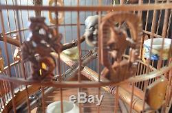 Grande Cage À Oiseaux Chinoise En Bois Et Banbo