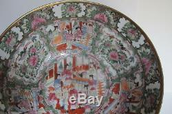 Grande Chinoise Export Rose Antique Médaillon Punch Bowl Figuraux Scènes 14,25