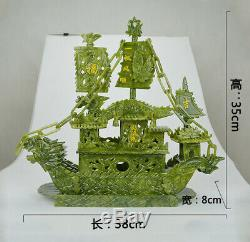 Grande Main Chinoise Sculpté 100% Naturel Statue Du Dragon De Jade Encens Dragon Boat Rn