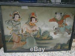 Grande Paire De (2) Peintures Chinoises Inversées Sur Verre Meilleur Peint À La Main Superbe