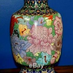 Grande Paire De 36 Chinois Cloisonné Vase Lamps- Émail Oriental Asiatique