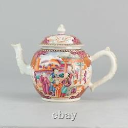 Grande Porcelaine Chinoise Vers 1750 Théière Mandarin Famille Rose Museum Piece