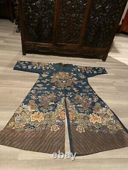 Grande Robe De Dragon En Soie Bleue Chinoise Kesi (losses)