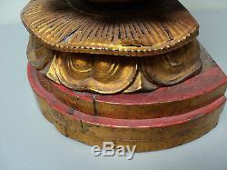 Grande Statue De Bouddha Décoré De Bois Antique Chinois Doré À La Main