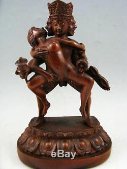 Grande Statue De Bouddha Sculptée À La Main De Buis Chinois