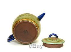 Grande Théière En Céramique Émaillée Vintage Yixing Zisha, Chinois, Argile Pourpre