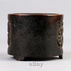 Graveur D'encens De Trépied En Bronze À L'encens, Bronze Antique