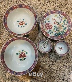 Groupe De Nice Antique Chinese Famille Rose Peranakan Straits Nyonya Bol En Porcelaine