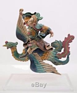 Guerrier Chinois 19ème Cen Monté Phoenix Céramique Antique Toit Tuile Qualité Musée