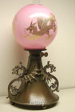 Gwtw Huile Victorienne Antique Kérosène Chinois Dragon Doré Japonais Japonais B & H