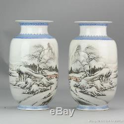 Haute Qualité 1950-1960 Qianlong Vase En Porcelaine Chinoise Marquée Proc Hiver