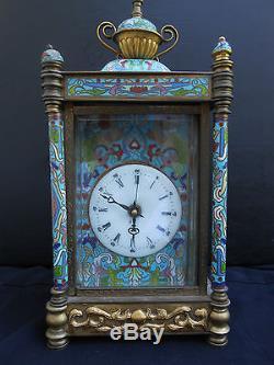 Horloge De Table Cloisonné Vintage De Reproduction Antique Chinoise