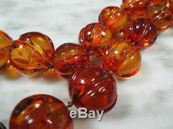 Immense Old Antique Chinois Sculpté Melon Perle Ambre De La Baltique Collier 94,8 Grams