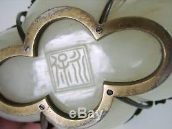 Imperial Antique Chinois De White Cavred Jade Bowl 1800 Argent Français Monts