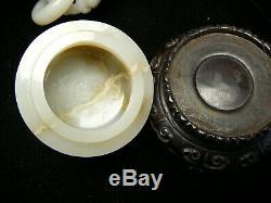 Impressionnant Bien Sculpté Jade Céladon Blanc 6 Anneaux Chinois Du 18ème Vase Couvert / 19thc