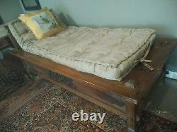 Indo Chinois Du Sud-asain Sculpté Teck Bois Chaise Opium Bed & Daybed