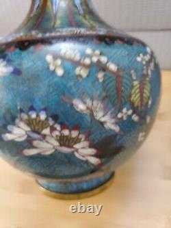 Inhabituel Chine Chinoise Cloisonne Vintage Olnate Fleur De Vase 12.5''t