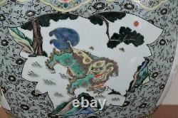 Jardiniere Chinoise De Bol De Poisson De Porcelaine Décorée Avec Le Lion, Les Oiseaux Et Les Fleurs