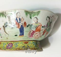 Jiaqing Famille Rose Ovale Lobed Bowl 1800 Signé Qing Dynasty Chinese Old Réparation