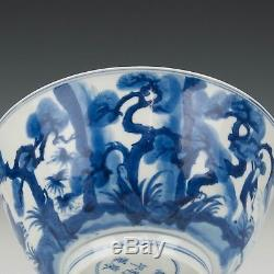 Joli Chinois B & W Kangxi Marque Et Période Bol, Figures, Ca, 1700