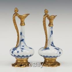 Jolie Paire De Vases En Porcelaine Chinoise B & W Du 18ème Siècle, D'époque Kangxi, Montés En Pichets