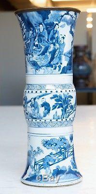 Kangxi Chinois Antique En Porcelaine Bleue Et Vase Gu Avec Divinité Et Enfants