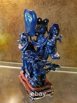 Lapis Lazuli Sculpture De Lady Of The Court Et Handmaiden, D'origine Chinoise
