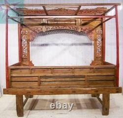 Lit À Baldaquin Chinois De Mariage Opium Sculpté Antique Rouge Etroitement Laque & Gold