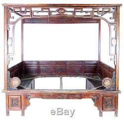 Lit À Baldaquin D'opium De Mariage Asiatique Chinois Antique, Panneaux Découpés Normal