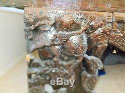 Lit À Baldaquin En Bois D'opium De Mariage Sculpté À La Main Antique Chinois Exquis