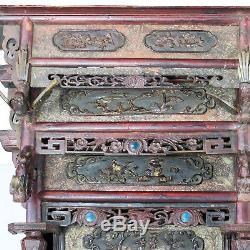 Lit D'opium D'auvent De Mariage Chinois Antique Finement Découpé, Normal