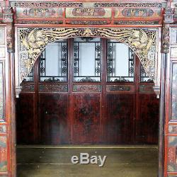 Lit De L'opium De Mariage D'auvent Chinois Antique Finement Découpé, Normal