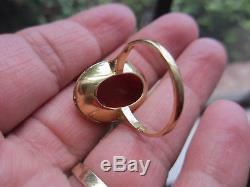 Magnifique Bague Antique Corail Chinoise Rouge-taille 9