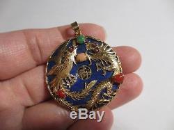 Magnifique Grand Vintage 14k Yg Chinois Pheonix Bird Lapis-corail & Jade Pendant-nr