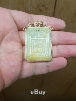Magnifique Pendentif Antique En Jade Sculpté Chinois, Signé 14k