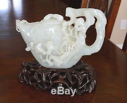 Main Chinoise Sculpté Top Qualité De Blanc He-tian Jade Teapot 2