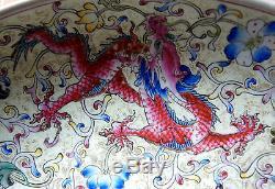 Main Vintage De Dragon Chinois, Peinture À La Main Dish C 1850