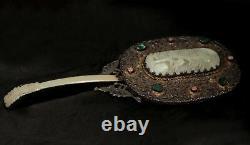 Miroir Antique Chinois De Main D'argent Avec Le Jade De Tourmaline De Nephrite Jade