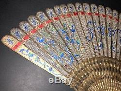 Musée Rare Typologie Antique Or Chinois En Argent Doré En Filigrane D'émail Brise Eventail