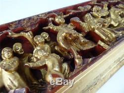 N759 Antique Vintage Chinois En Bois Doré Panneau En Bois Sculpté
