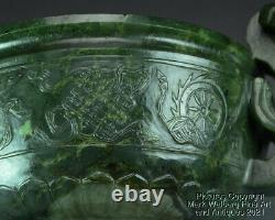 Néphrite Chinois Spinach Jade Censer, Incense Burner, Ruyi Handles, 18/19ème C