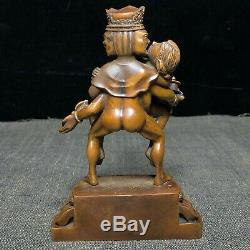 Old Collection Bouddhisme Chinois Boxwood Tibétain Marque Amour Heureux Bouddha Statue