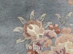 Old Hand Made Art Déco Chinois Tapis Bleu Gris Laine Grand Tapis Tapis 250x154cm