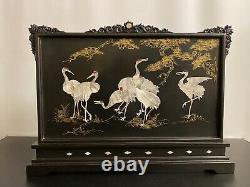 Oriental Chinois Vintage Noir Laqué Feu Écran Avec Nacre Marqueté