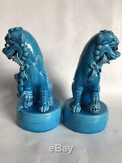 Paire (2) Chinois Antique Foo Shi Chiens Lions Turquoise Glaze Figurechinese Mark