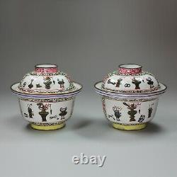 Paire Antique De Bols Et Couvertures D'émail De Canton Chinois, Qianlong (1736-95)